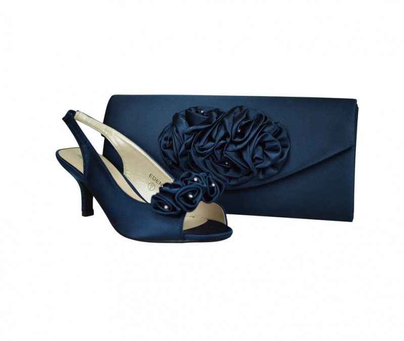 Eden navy blue satin wedding low heel