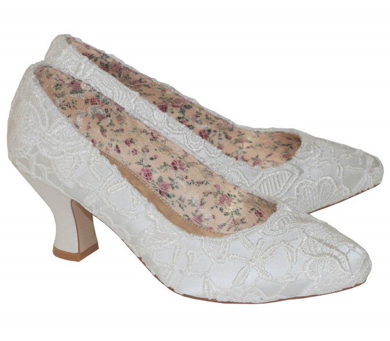 b64187ebc30 Mable Ivory Satin   Lace Vintage Inspired Bridal Court Shoe