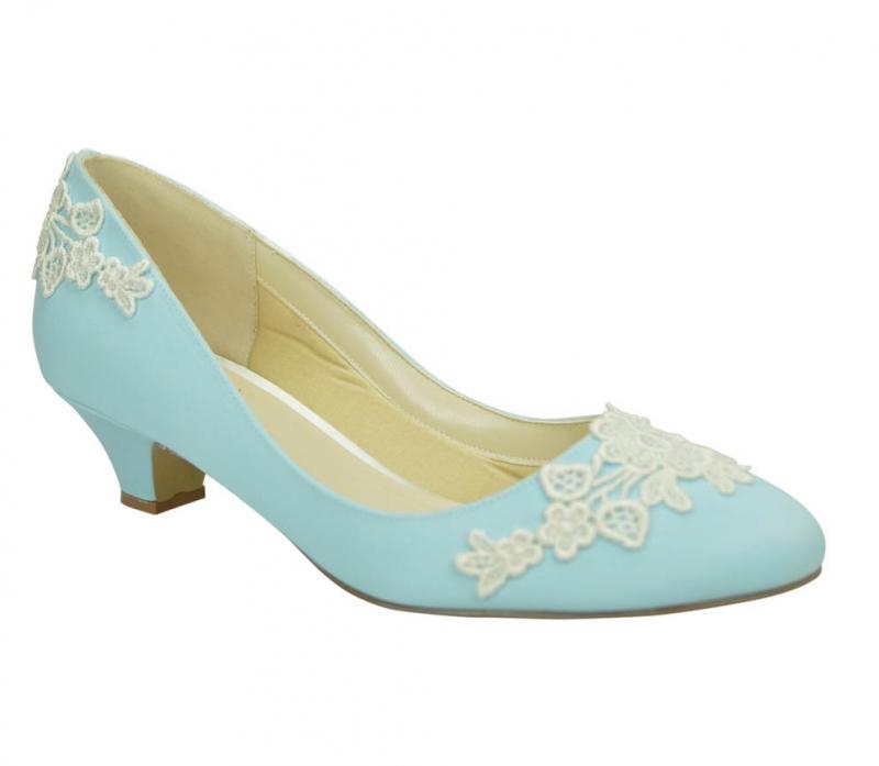 Light blue ivory lace low heel bridal