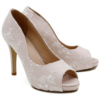 Celia Blush Satin & Lace HIgh Heel Peep Toe Courts