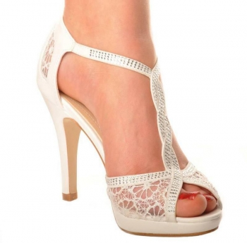 Ivory Satin & Lace T Bar Wedding Bridal Mid Heel Sandals