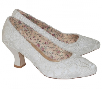Mable Ivory Satin & Lace Vintage Inspired Bridal  Court Shoe