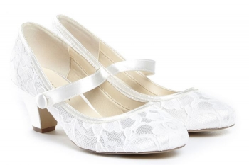 Pink By Paradox London Adoring Lace Mary Jane Bridal Shoes